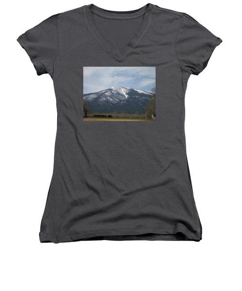 Women's V-Neck T-Shirt (Junior Cut) featuring the photograph The Longshed by Jewel Hengen