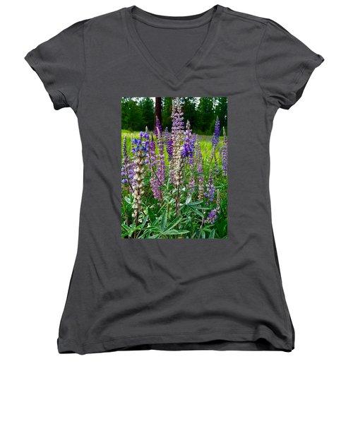 The Lupine Crowd Women's V-Neck T-Shirt (Junior Cut) by Jennifer Lake