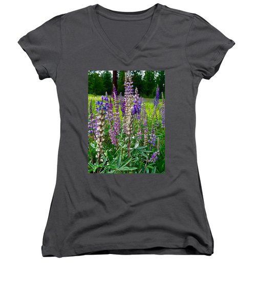 The Lupine Crowd Women's V-Neck T-Shirt (Junior Cut)
