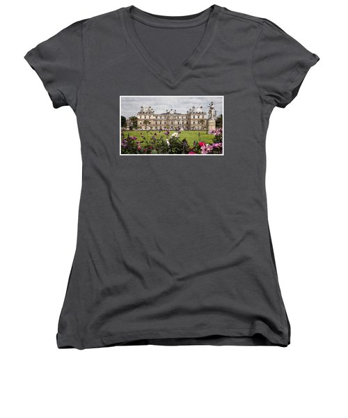 Women's V-Neck T-Shirt (Junior Cut) featuring the digital art The Luxembourg Palace by Kai Saarto