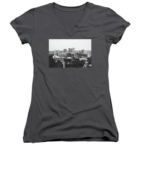 Women's V-Neck T-Shirt (Junior Cut) featuring the photograph The Magic City In Monochrome by Shelby Young