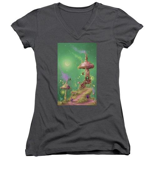 The Mushroom Gatherer Women's V-Neck T-Shirt