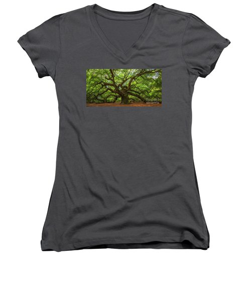 The Magical Angel Oak Tree Panorama  Women's V-Neck T-Shirt (Junior Cut) by Michael Ver Sprill