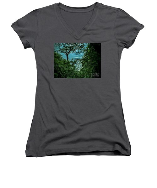 Women's V-Neck T-Shirt (Junior Cut) featuring the photograph The Majestic Victoria Falls by Karen Lewis