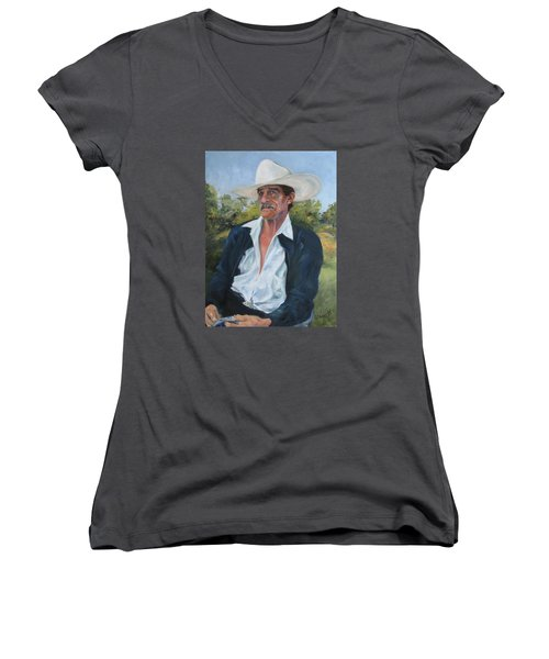 The Man From The Valley Women's V-Neck T-Shirt (Junior Cut) by Connie Schaertl