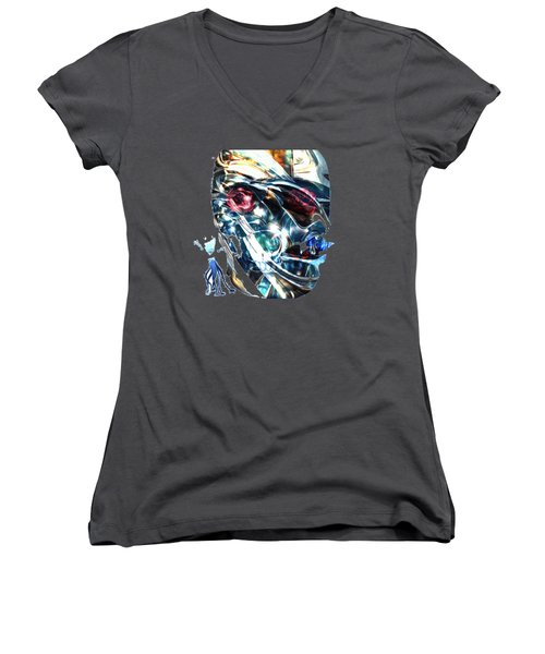The Man In The Chromium Mask Women's V-Neck (Athletic Fit)