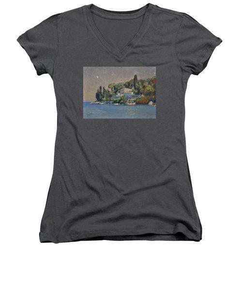 The Mansion House Paxos Women's V-Neck T-Shirt (Junior Cut) by Nop Briex