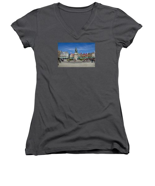 Women's V-Neck T-Shirt (Junior Cut) featuring the photograph The Markt Of Bruges by Pravine Chester