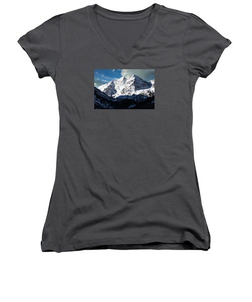 These Twin Peaks Outside Aspen Are Called The Maroon Bells  Women's V-Neck T-Shirt (Junior Cut) by Carol M Highsmith