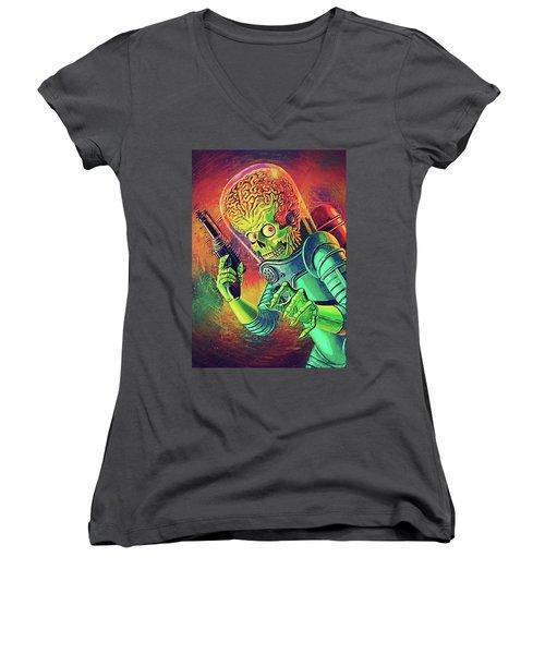 The Martian - Mars Attacks Women's V-Neck T-Shirt (Junior Cut) by Taylan Apukovska