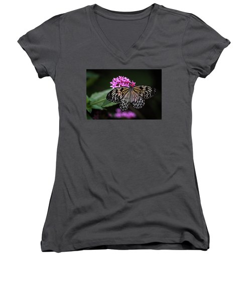 The Master Calls A Butterfly Women's V-Neck (Athletic Fit)