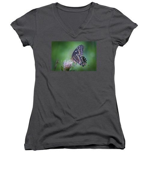 The Mattamuskeet Butterfly Women's V-Neck T-Shirt