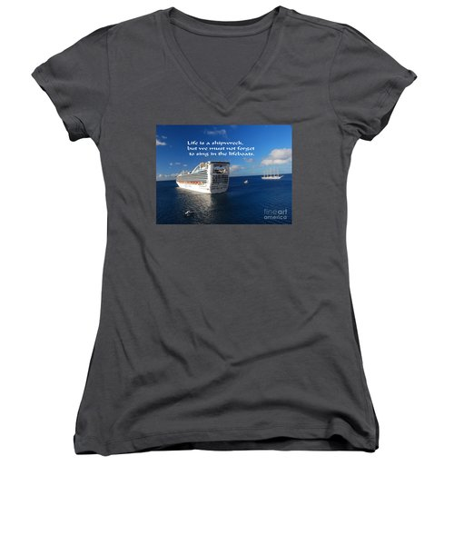 Women's V-Neck T-Shirt (Junior Cut) featuring the photograph The Meaning Of Life by Gary Wonning