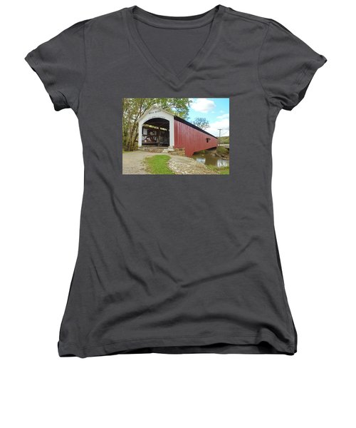 Women's V-Neck T-Shirt (Junior Cut) featuring the photograph The Mecca Covered Bridge by Harold Rau