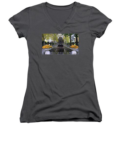 The Medici Fountain At The Jardin Du Luxembourg In Paris France. Women's V-Neck T-Shirt (Junior Cut) by Richard Rosenshein