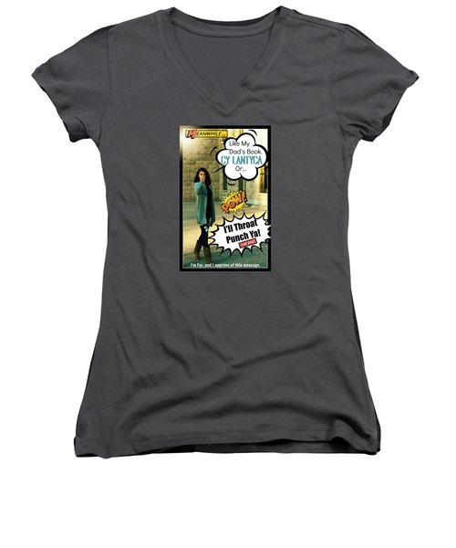Women's V-Neck T-Shirt (Junior Cut) featuring the photograph The Message by Cyryn Fyrcyd