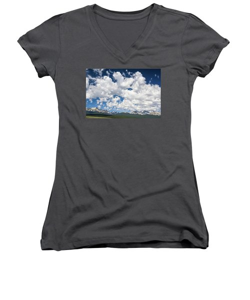 The Mid Point Between Ante Meridiem And Post Meridiem, Between A.m. And P.m.  Women's V-Neck T-Shirt (Junior Cut)