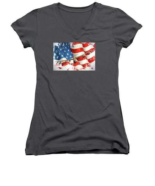 The Mighty B-52 Women's V-Neck T-Shirt (Junior Cut) by Peter Chilelli