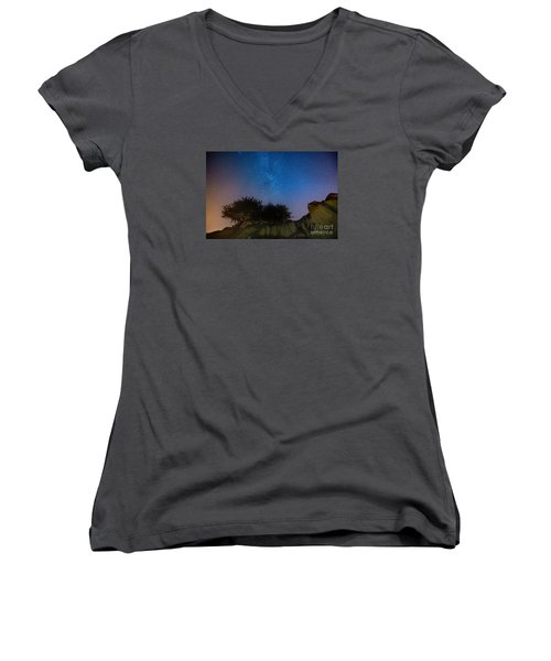 The Milky Way Above Shell Beach Women's V-Neck T-Shirt