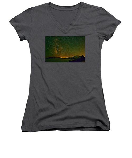 The Milky Way And Mt. Rainier Women's V-Neck