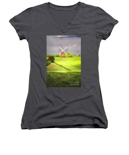 The Mill Uphill Women's V-Neck T-Shirt (Junior Cut) by Jack Torcello