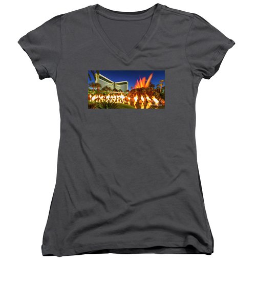 The Mirage Casino And Volcano Eruption At Dusk Women's V-Neck T-Shirt (Junior Cut) by Aloha Art