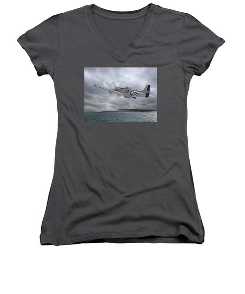The Mission - P51 Over Dover Women's V-Neck (Athletic Fit)