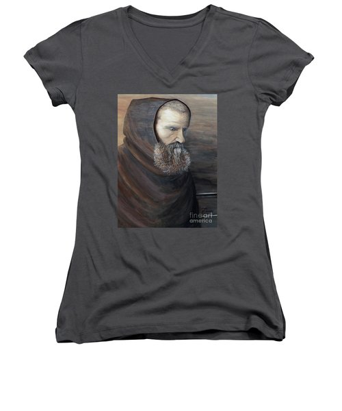 Women's V-Neck T-Shirt (Junior Cut) featuring the painting The Monk by Judy Kirouac