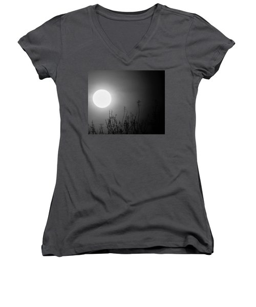 The Moon And The Stars Women's V-Neck T-Shirt (Junior Cut) by John Glass