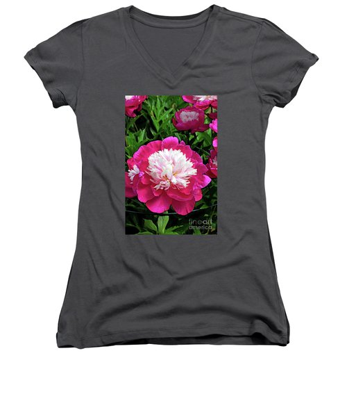 The Most Beautiful Peony Women's V-Neck T-Shirt (Junior Cut)