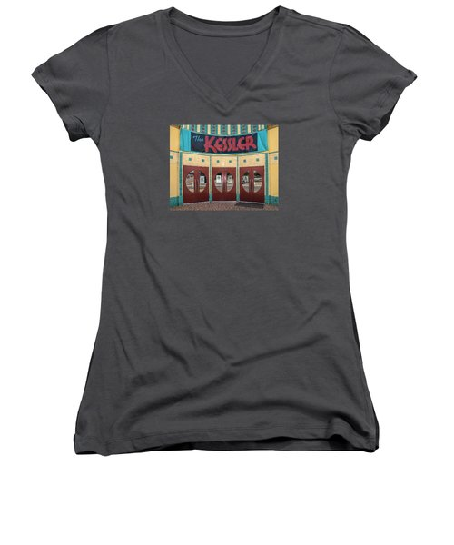 The Movie Theater Women's V-Neck T-Shirt (Junior Cut) by David and Carol Kelly