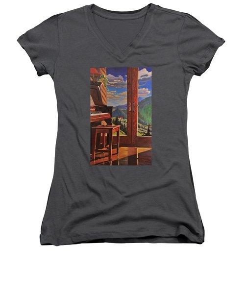 The Music Room Women's V-Neck T-Shirt (Junior Cut) by Art West