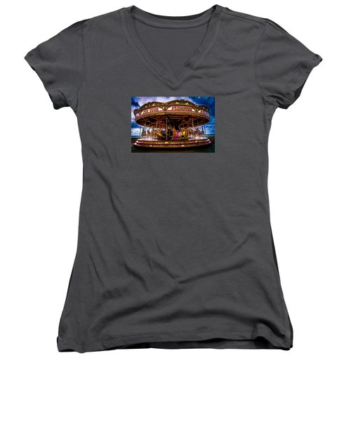 Women's V-Neck T-Shirt (Junior Cut) featuring the photograph The Mystical Dragon Chariot by Chris Lord