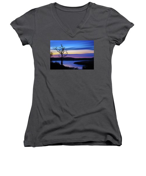 Women's V-Neck T-Shirt (Junior Cut) featuring the photograph The Naked Tree At Sunrise by Semmick Photo