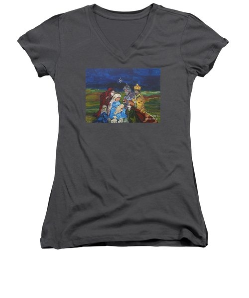 Women's V-Neck T-Shirt (Junior Cut) featuring the painting The Nativity by Reina Resto