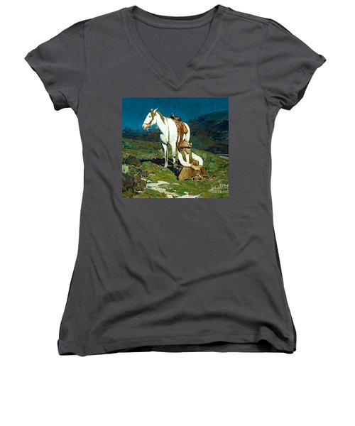 Women's V-Neck T-Shirt (Junior Cut) featuring the painting The Night Hawk by Pg Reproductions