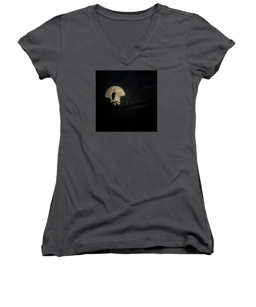 Women's V-Neck T-Shirt (Junior Cut) featuring the photograph The Night Of The Heron by Chris Lord