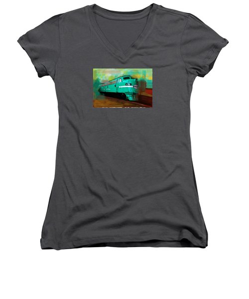 Flash II  The Ny Central 4083  Train  Women's V-Neck T-Shirt (Junior Cut) by Iconic Images Art Gallery David Pucciarelli