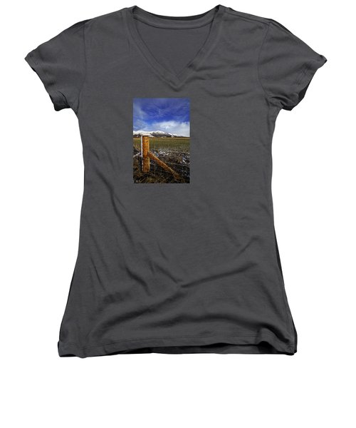 Women's V-Neck T-Shirt (Junior Cut) featuring the photograph The Ochils In Winter by Jeremy Lavender Photography