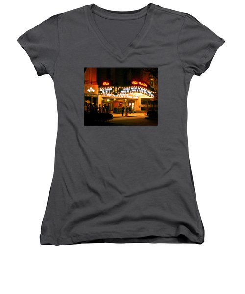 The Ohio Theater At Night Women's V-Neck (Athletic Fit)