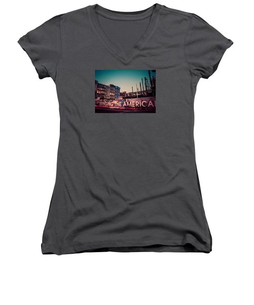 Women's V-Neck T-Shirt (Junior Cut) featuring the photograph The Old And The New by Mark Dodd