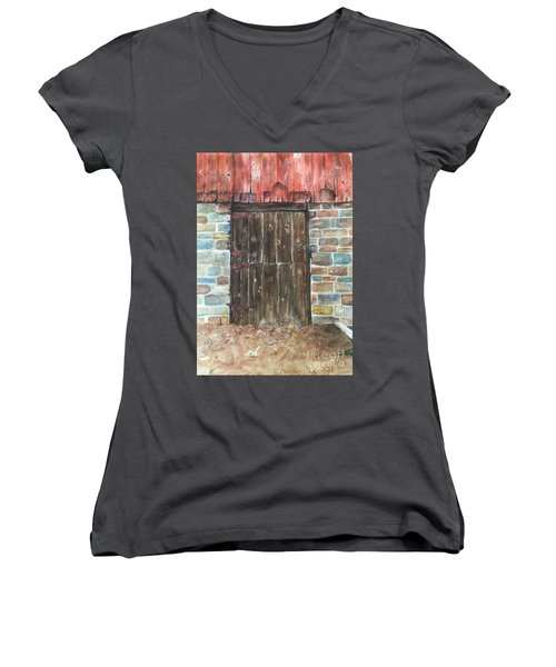 The Old Barn Door Women's V-Neck T-Shirt (Junior Cut) by Lucia Grilletto