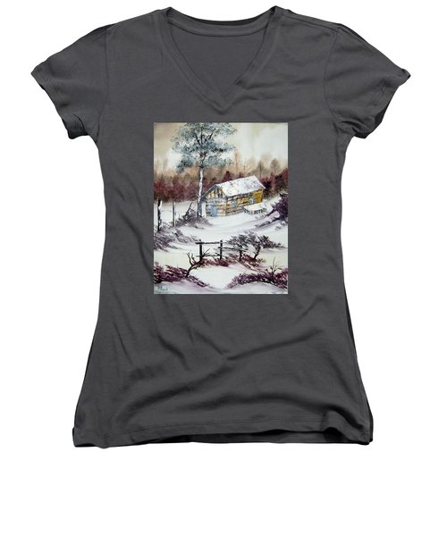 The Old Barn In Winter Women's V-Neck (Athletic Fit)