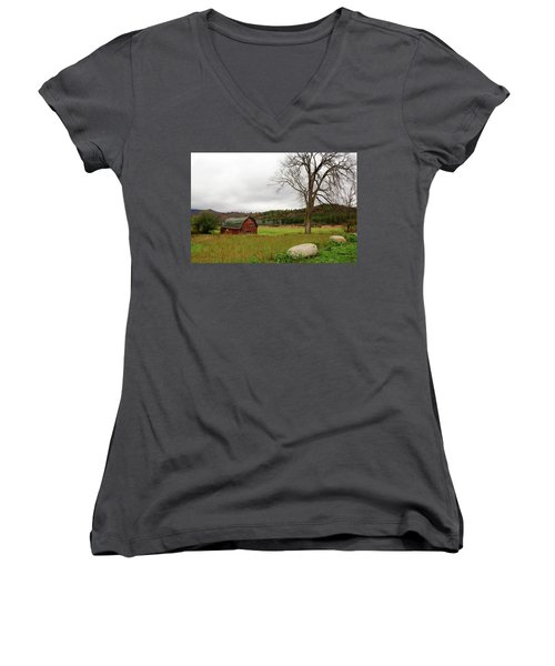 The Old Barn With Tree Women's V-Neck (Athletic Fit)