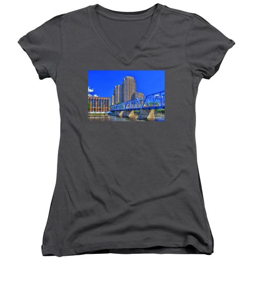 The Old Blue Bridge Women's V-Neck T-Shirt (Junior Cut) by Robert Pearson