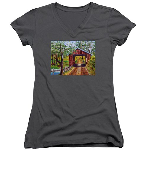 The Old Covered Bridge Women's V-Neck T-Shirt (Junior Cut) by Mike Caitham