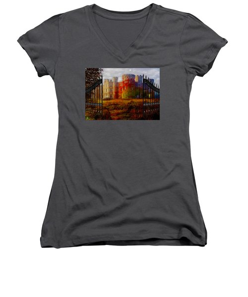 The Old Haunted Castle Women's V-Neck T-Shirt (Junior Cut) by Michael Rucker