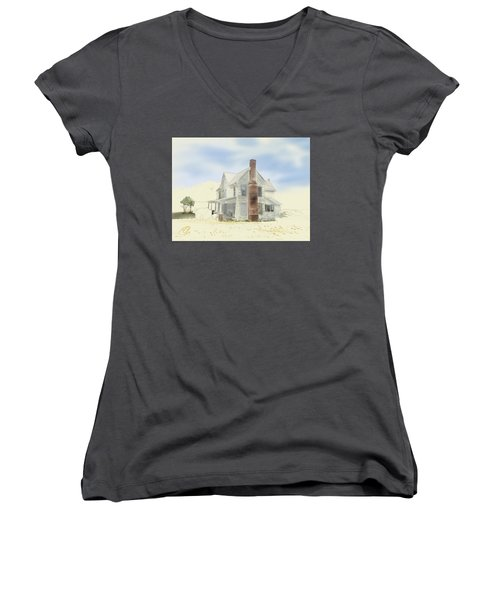 Women's V-Neck T-Shirt featuring the painting The Home Place - Silent Eyes by Joel Deutsch