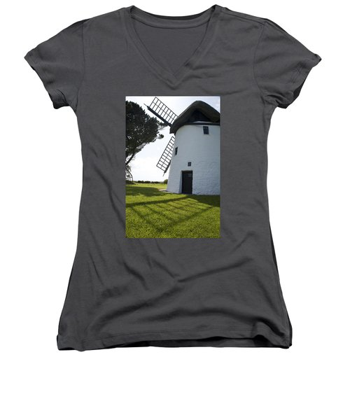 Women's V-Neck T-Shirt (Junior Cut) featuring the photograph The Old Irish Windmill by Ian Middleton
