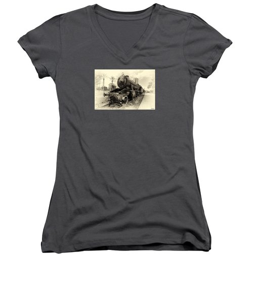 Women's V-Neck T-Shirt (Junior Cut) featuring the photograph The Old Locomotive by Uri Baruch